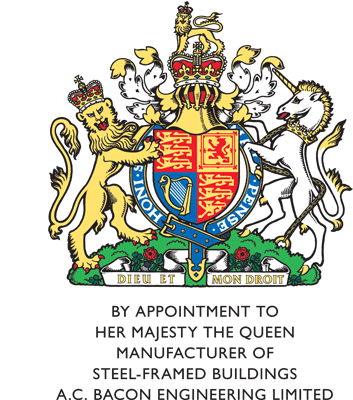 By appointment to her majesty the queen - manufacturer of steel framed buildings A.C Bacon Engineering Ltd